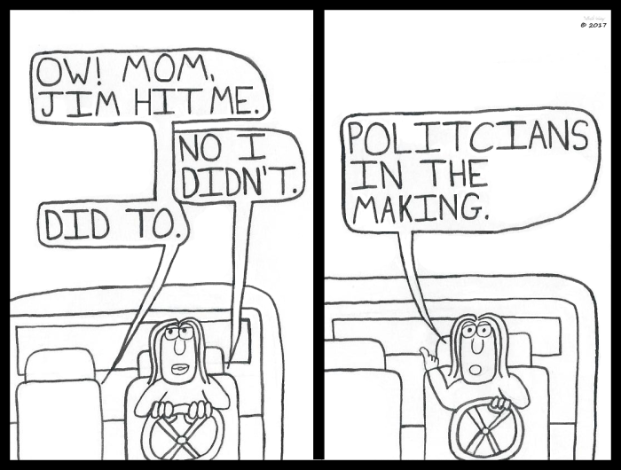Mom Driving Kids Fighting 1 (Politicians)